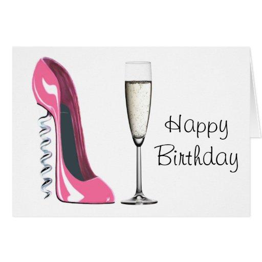 Corkscrew Pink Stiletto Shoe and Champagne Card