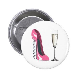 Corkscrew Pink Stiletto Shoe and Champagne Glass Pinback Button