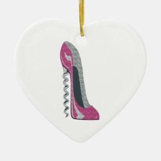 Corkscrew Pink Stiletto Shoe Art Ceramic Ornament