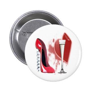 Corkscrew Red Stiletto and Bleeding Heart Design 2 Inch Round Button
