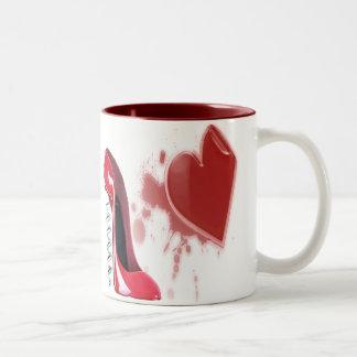 Corkscrew Red Stiletto and Breaking Heart Two-Tone Mug