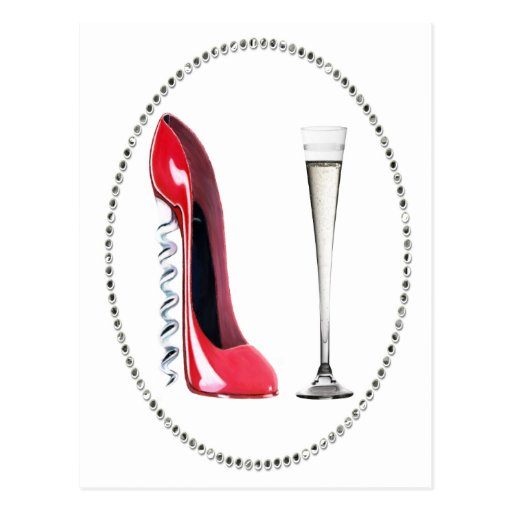 Corkscrew Red Stiletto and Champagne Flute Gifts Postcard