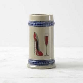 Corkscrew Red Stiletto and Champagne Glass Art Beer Steins