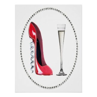 Corkscrew Red Stiletto and Champagne Poster