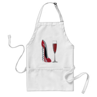 Corkscrew Red Stiletto and Red Wine Art Adult Apron