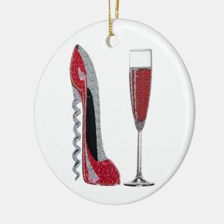 Corkscrew Red Stiletto and Red Wine Art Ceramic Ornament