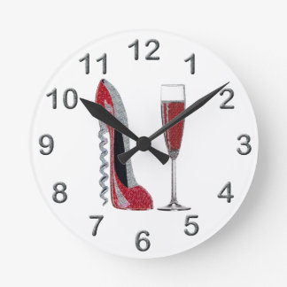 Corkscrew Red Stiletto and Red Wine Art Wall Clock