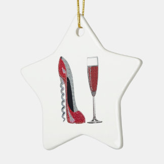 Corkscrew Red Stiletto and Red Wine Art Double-Sided Star Ceramic Christmas Ornament