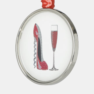 Corkscrew Red Stiletto and Red Wine Art Metal Ornament