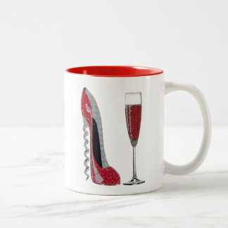 Corkscrew Red Stiletto and Red Wine Art Two-Tone Coffee Mug