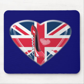 Corkscrew Red Stiletto and Union Jack Mouse Pad
