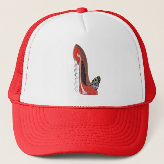 Corkscrew Red Stiletto Shoe and Butterfly Art Gift Trucker Hat