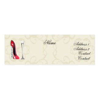 Corkscrew Red Stiletto Shoe and Champagne Business Business Cards
