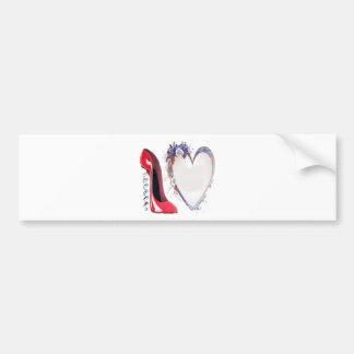 Corkscrew Red Stiletto Shoe and Floral Heart Bumper Sticker