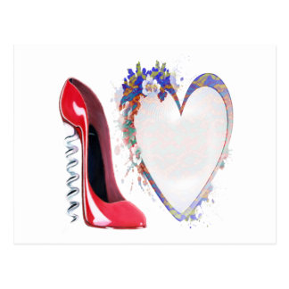 Corkscrew Red Stiletto Shoe and Floral Heart Post Card