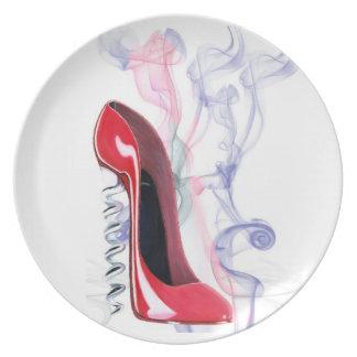 Corkscrew Red Stiletto Shoe Art Plate