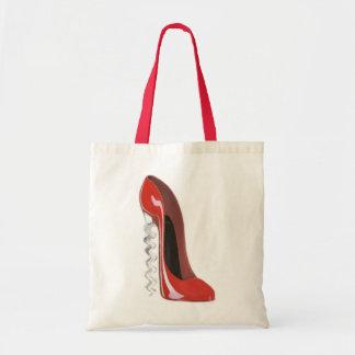 Corkscrew Red Stiletto Shoe Budget Tote Bag