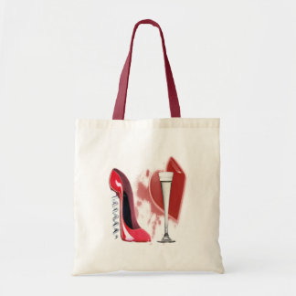 Corkscrew Red Stiletto Shoe, Champagne and Heart Budget Tote Bag