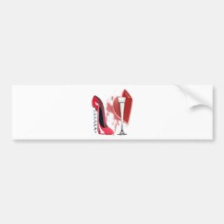 Corkscrew Red Stiletto Shoe, Champagne and Heart Bumper Sticker