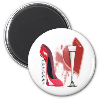 Corkscrew Red Stiletto Shoe, Champagne and Heart Magnets