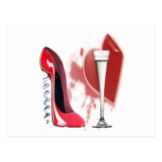 Corkscrew Red Stiletto Shoe Champagne and Heart Postcard