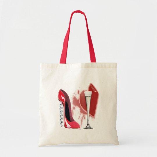 Corkscrew Red Stiletto Shoe, Champagne and Heart Tote Bag