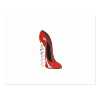 Corkscrew Red Stiletto Shoe Postcard