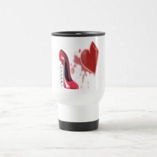 Corkscrew Red stiletto shoe with bleeding heart Stainless Steel Travel Mug