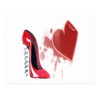 Corkscrew Red stiletto shoe with bleeding heart Postcard