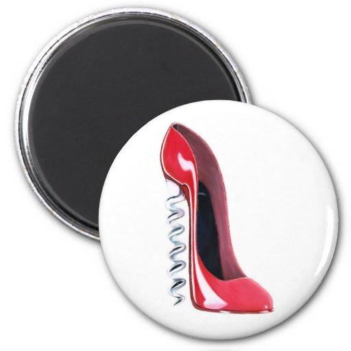 Corkscrew Shoe 2 Inch Round Magnet