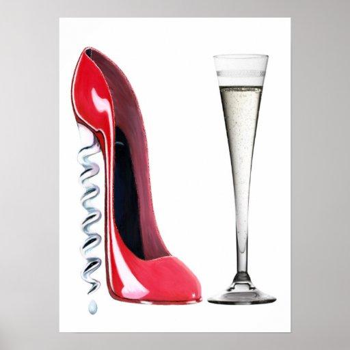 Corkscrew Stiletto and Champagne Flute Poster