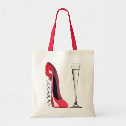 Corkscrew Stiletto Shoe and Champagne Flute Glass Bags