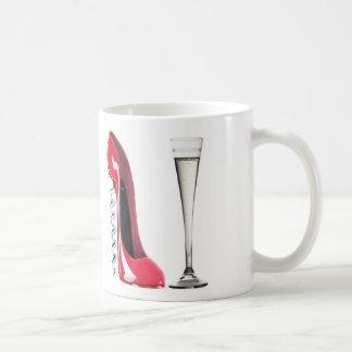 Corkscrew Stiletto Shoe and Champagne Flute Glass Basic White Mug