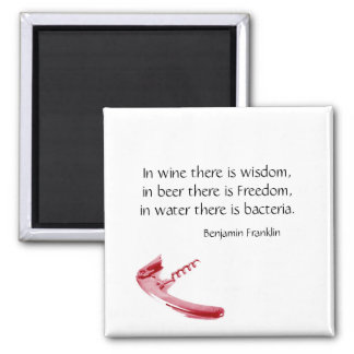 corkscrew wine and beer humorous quote 2 inch square magnet