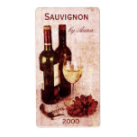 Corkscrew, Wine Glass And Grapes Wine Bottle Label at Zazzle