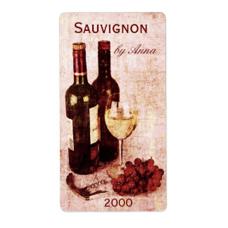 corkscrew, wine glass and grapes wine bottle label shipping label