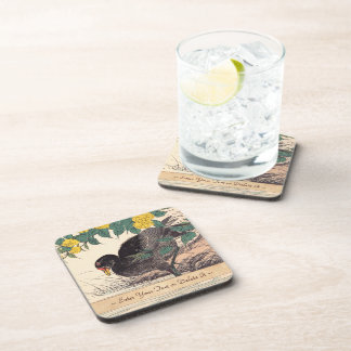 Cormorant and Kerria Rose Flower and Bird Painting Drink Coasters