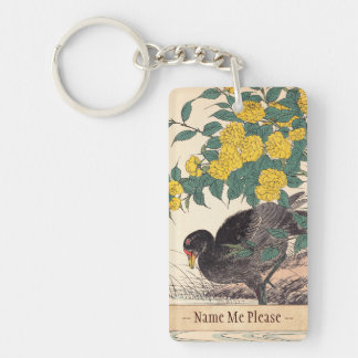 Cormorant and Kerria Rose Flower and Bird Painting Double-Sided Rectangular Acrylic Keychain