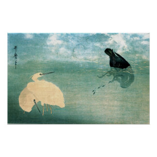Cormorant and White Heron 1789 Poster