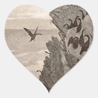 Cormorant by Theodor Severin Kittelsen Heart Sticker