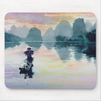 """Cormorant Fisherman"" China Watercolor Mouse Mat"