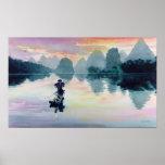 """""""Cormorant Fisherman"""" China Watercolor Print"""