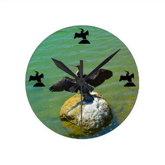 Cormorant Funny Crane Kick Style Round Clock