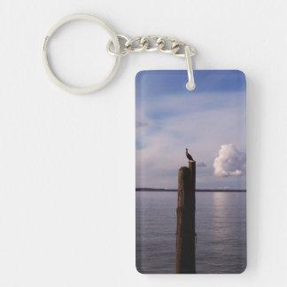 Cormorant On Pole Single-Sided Rectangular Acrylic Keychain