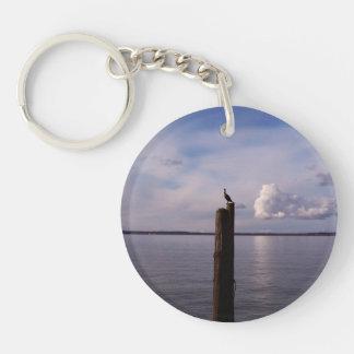 Cormorant On Pole Single-Sided Round Acrylic Keychain