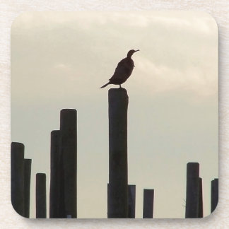 Cormorant/Pilings Drink Coaster