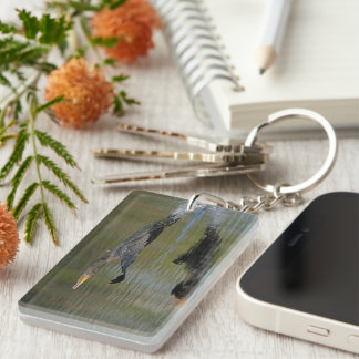 Cormorant Takeoff Double-Sided Rectangular Acrylic Keychain