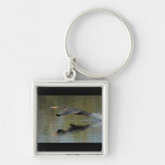 Cormorant Takeoff Silver-Colored Square Keychain