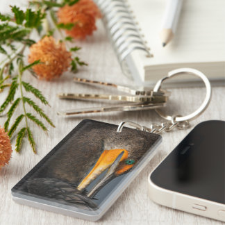 Cormorant up Close Single-Sided Rectangular Acrylic Keychain