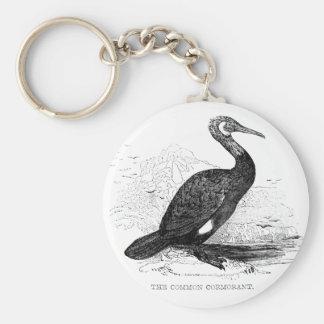 Cormorant Vintage Bird Wildlife Drawing Basic Round Button Keychain